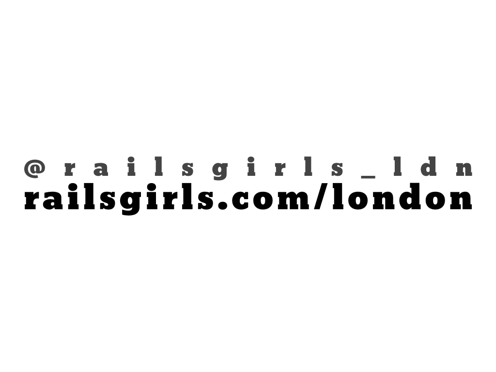text: @railsgirls_ldn, railsgirls.london