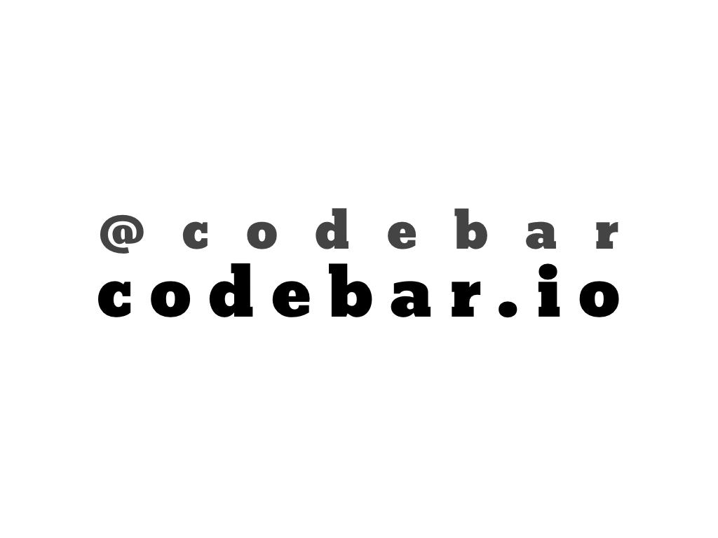 text: @codebar, codebar.io
