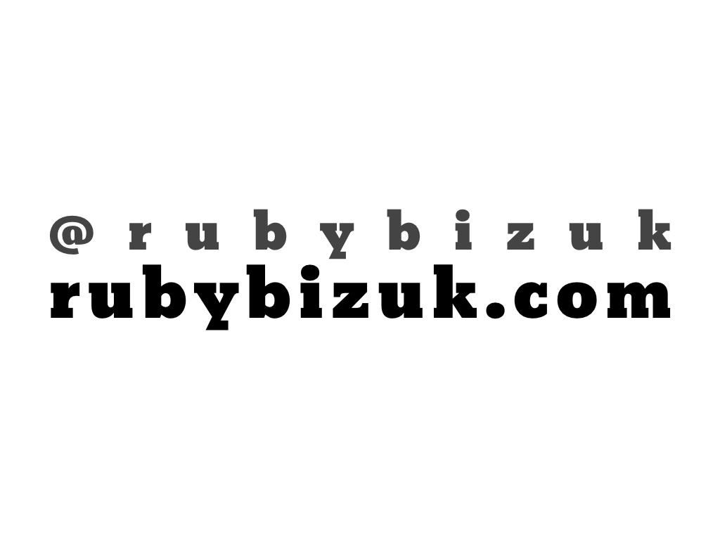 text: @rubybizuk, rubybizuk.com