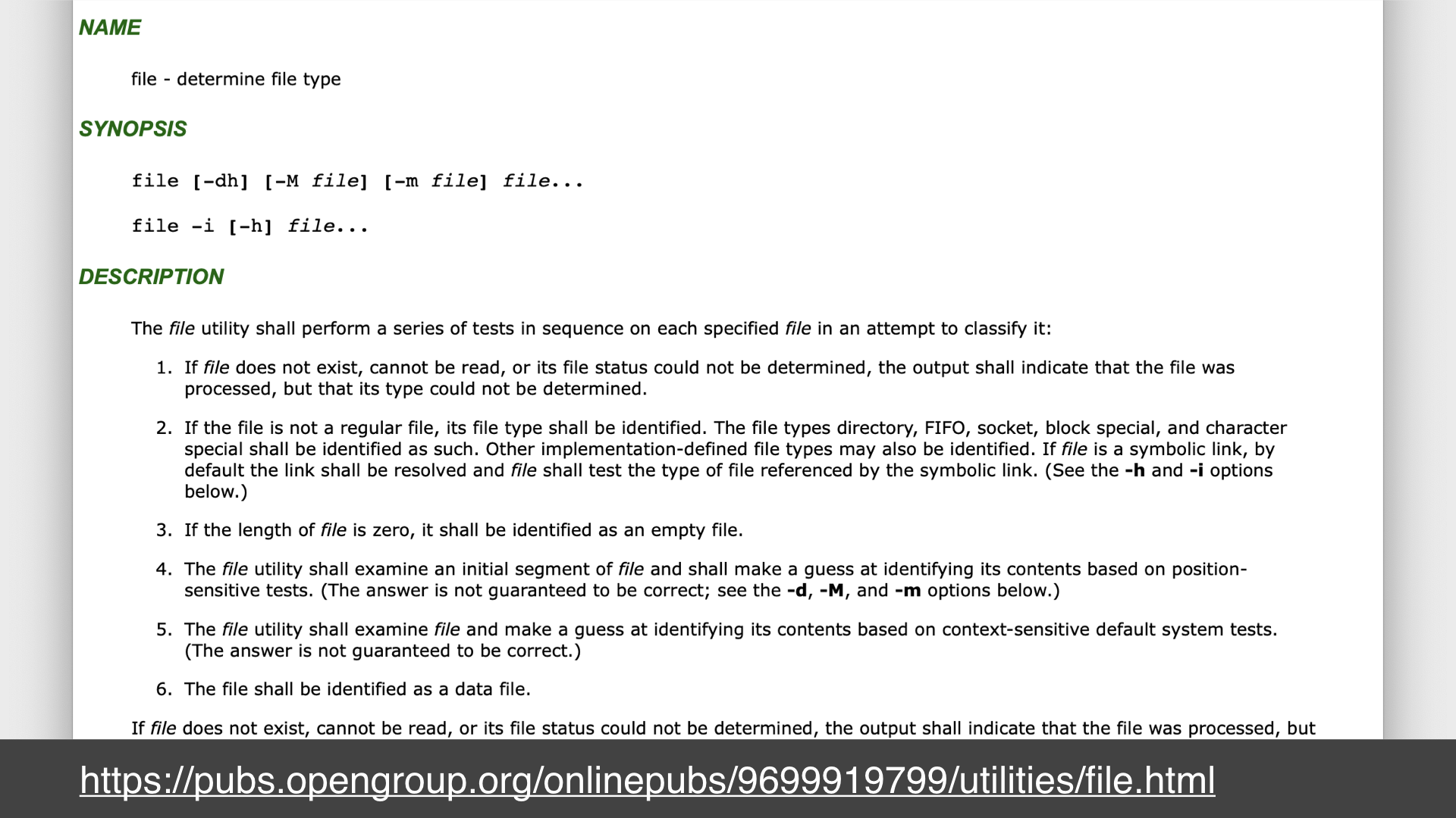 Screenshot of a webpage of the man page for the unix `file` command; url: https://pubs.opengroup.org/onlinepubs/9699919799/utilities/file.html