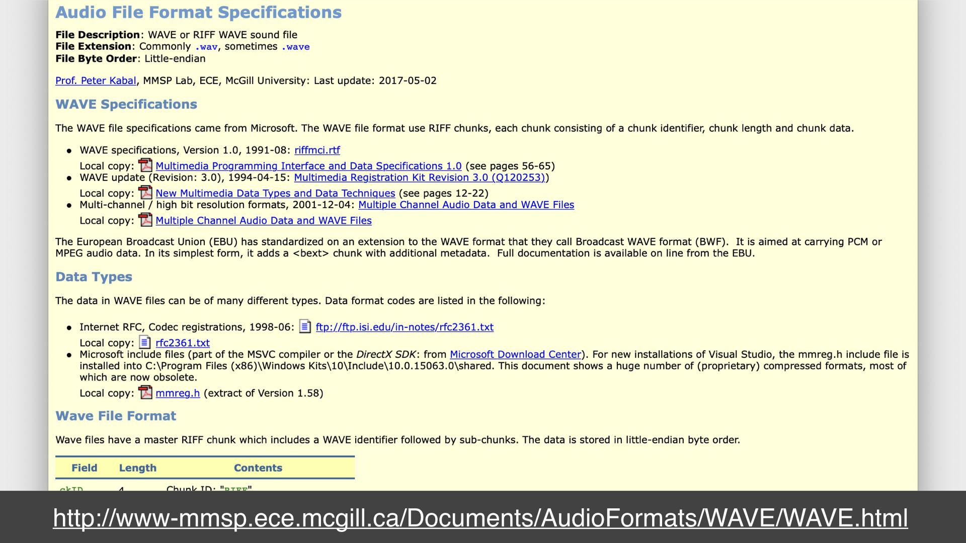 Screenshot of a webpage describing the WAV file format specification; url: http://www-mmsp.ece.mcgill.ca/Documents/AudioFormats/WAVE/WAVE.html