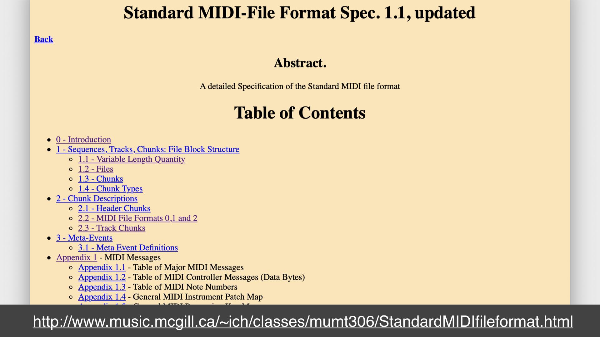 Screenshot of a webpage describing the MIDI file format specification; url: http://www.music.mcgill.ca/~ich/classes/mumt306/StandardMIDIfileformat.html