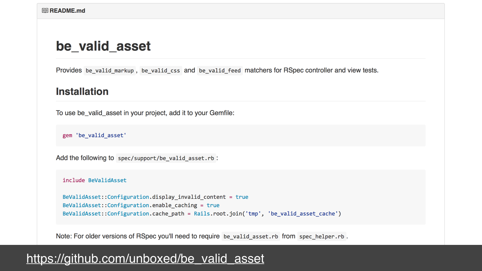 A screenshot of the readme for the be_valid_asset gem as rendered on its github project page - text: https://github.com/unboxed/be_valid_asset