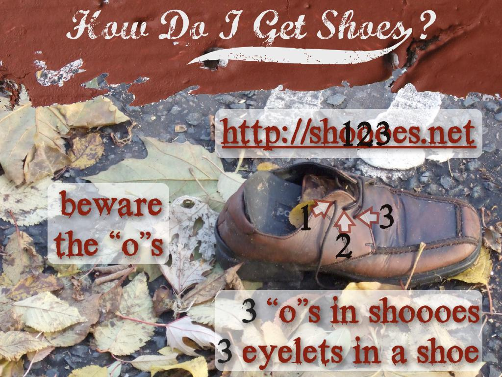 "A photograph of a brown shoe among some leaves with arrows pointing to the 3 eyelets. text: How do I get shoes? http://shoooes.net, beware the ""o""s. 3 ""o""s in shoooes. 3 eyelets in a shoe"