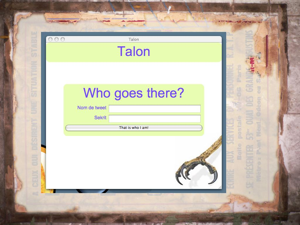 A screenshot of the Talon app window with a log in screen asking for username and password