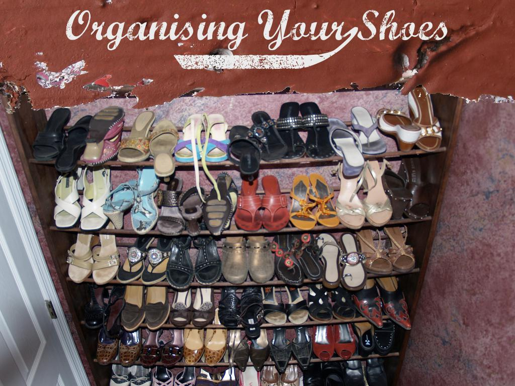 A photograph of a large collection of shoes on a large shoe-tree. text: Organising your shoes